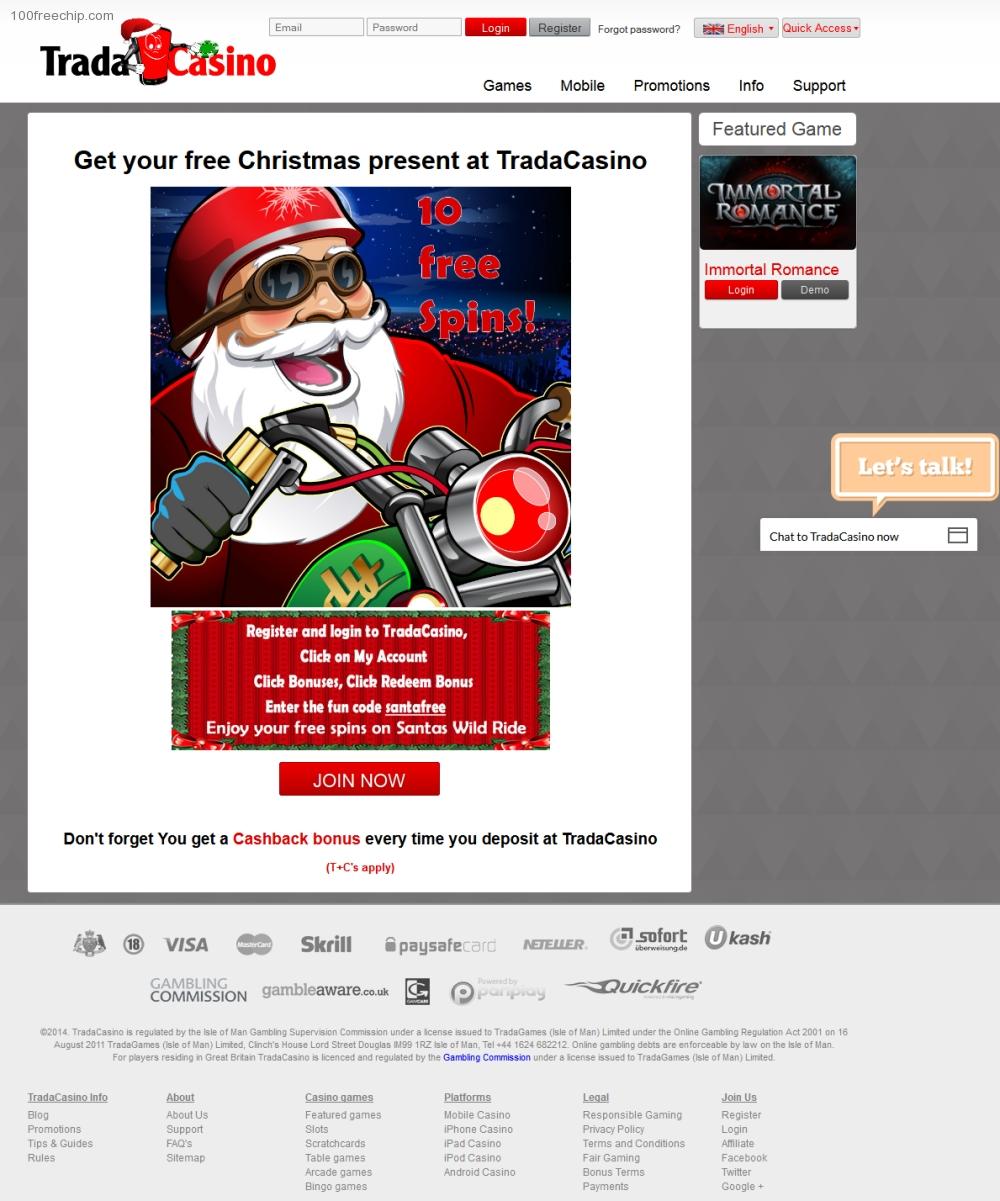 Trada Casino 100 Free Chip