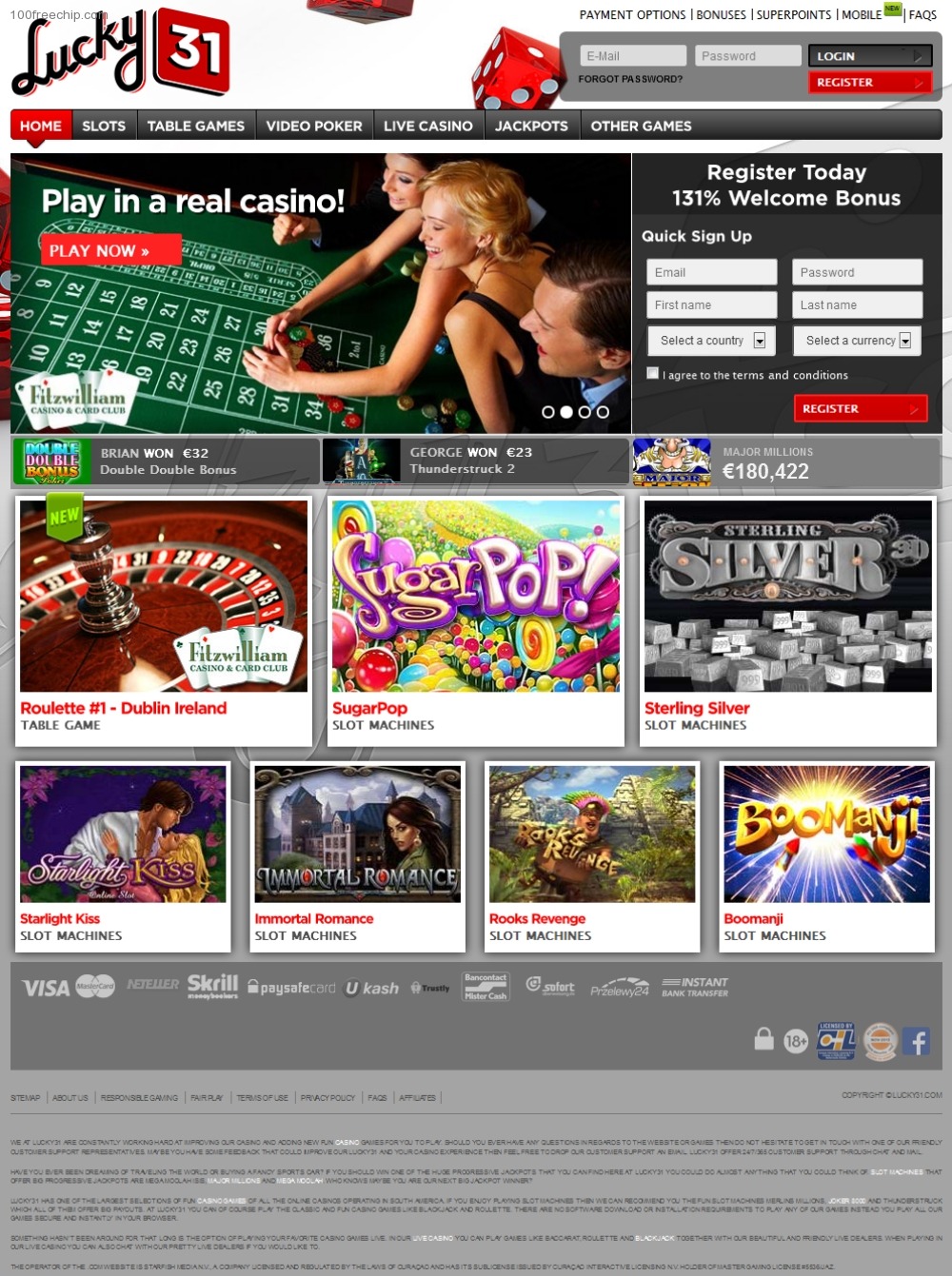 Lucky 31 casino free spins