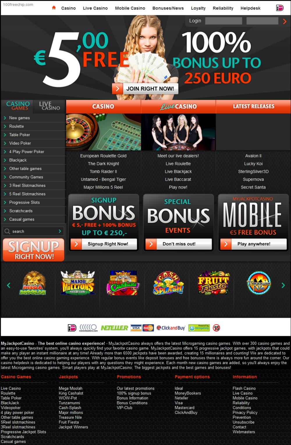 jackpot capital casino $100 free chip