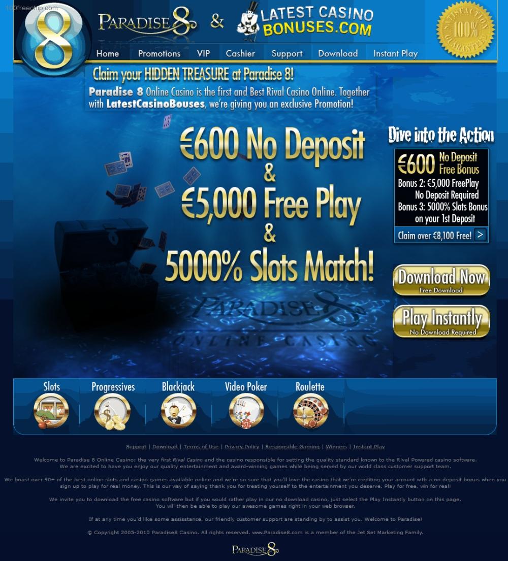 Paradise 8 Casino 100 Free Chip