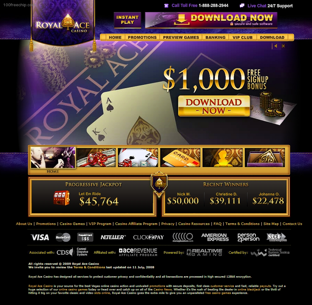 Royal Ace Casino 100 Free Chip