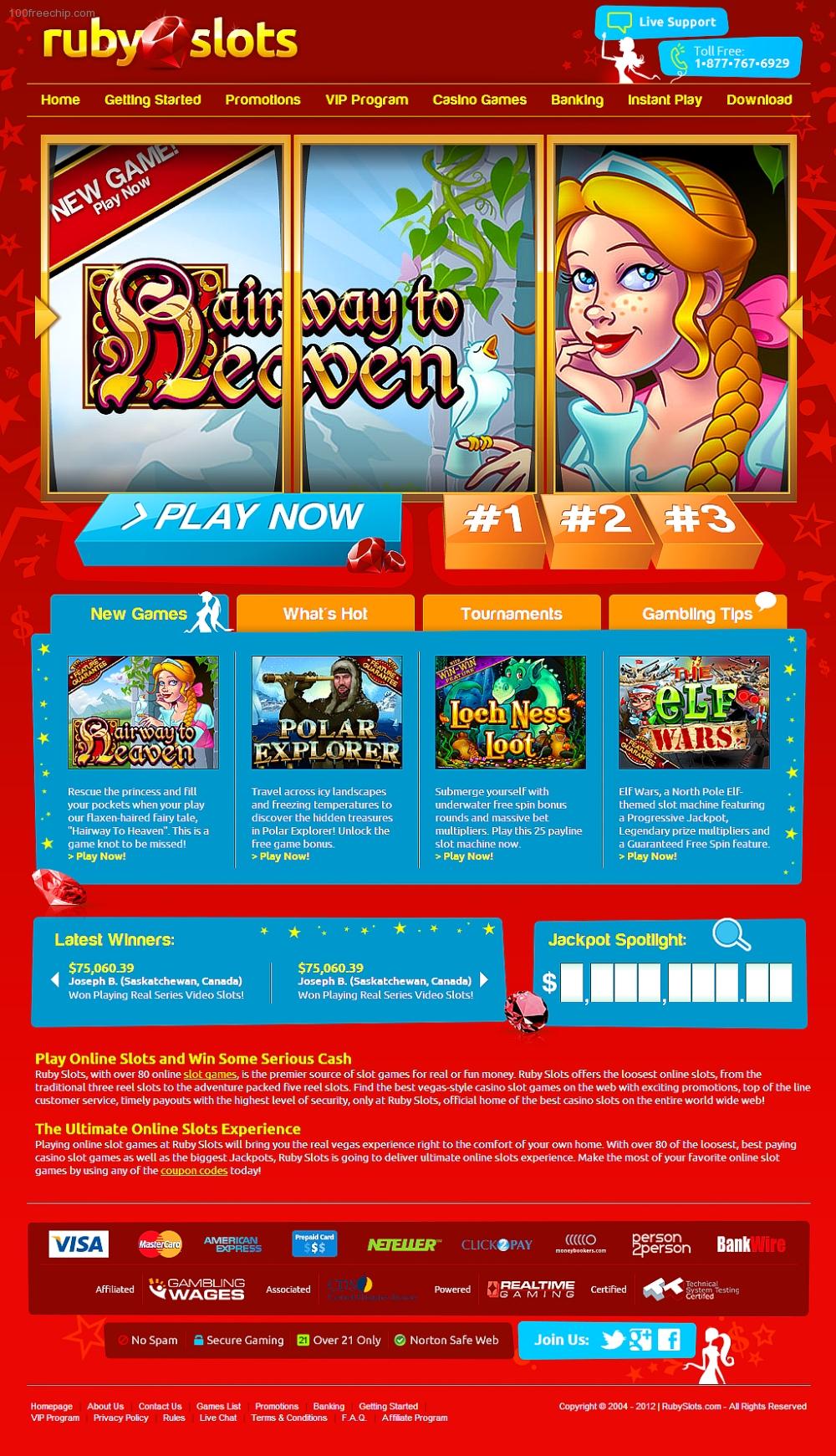 Ruby Slots Casino 100 Free Chip