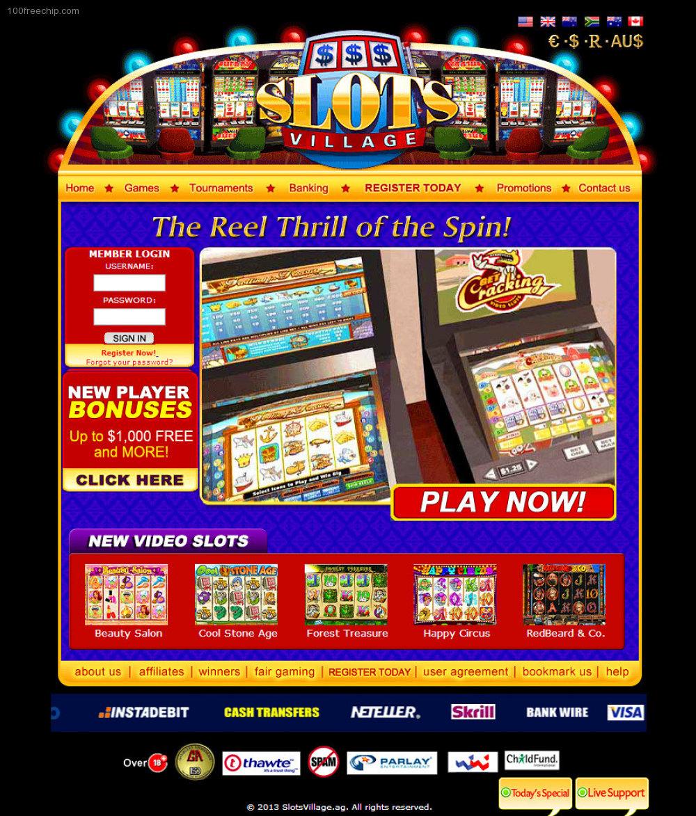 Slots Village Casino 100 Free Chip